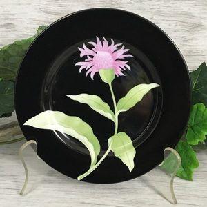 VTG Fitz & Floyd Plate Black Floral Thistle Purple